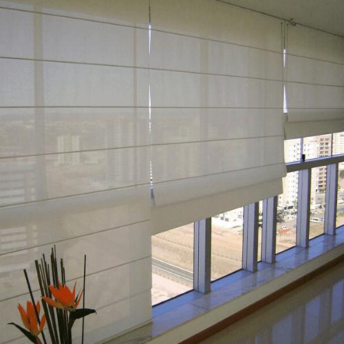 Cortina romana screen blanca persianas romanas manuales